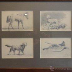 Arte: PIEZA ÚNICA. CUATRO DIBUJOS ORIGINALES A LÁPIZ SOBRE PAPEL - FIRMA BOHIGAS 1934. ENMARCADO / CRISTAL. Lote 49143477