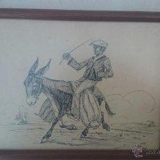 Arte: DIBUJO ANTIGUO ECHO A PLUMILLA DE UN BURRO Y JINETE FIRMADO POR F. SANCHO 1937 ENMARCADO. Lote 49208530