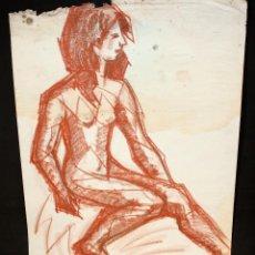 Arte: ANONIMO. DIBUJO A PASTEL. DESNUDO FEMENINO. Lote 49237749