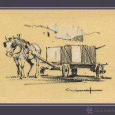 Arte: RAFAEL GARRICH. PINTOR DE L'HOSPITALET CARRUAJE. DIBUJO AL CARBÓN Y CLARIÓN 10 CM X 14 CM. Lote 49258783