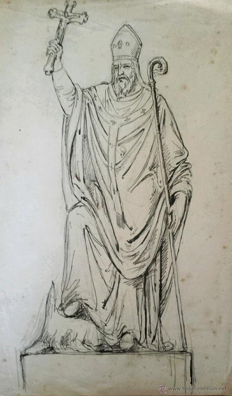 RETRATO ORIGINAL A TINTA, EXCELENTE TRAZO, FINALES DEL SIGLO XIX (Arte - Dibujos - Modernos siglo XIX)
