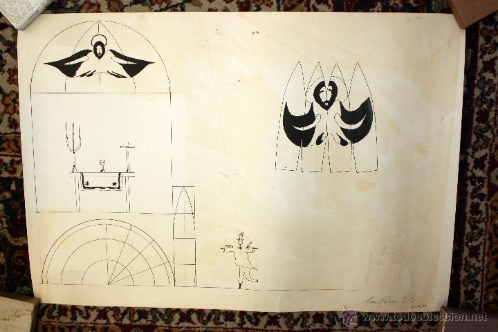 FIRMADO JOAN CARBONA. DIBUJO A TINTA. ESBOZOS (Arte - Dibujos - Contemporáneos siglo XX)