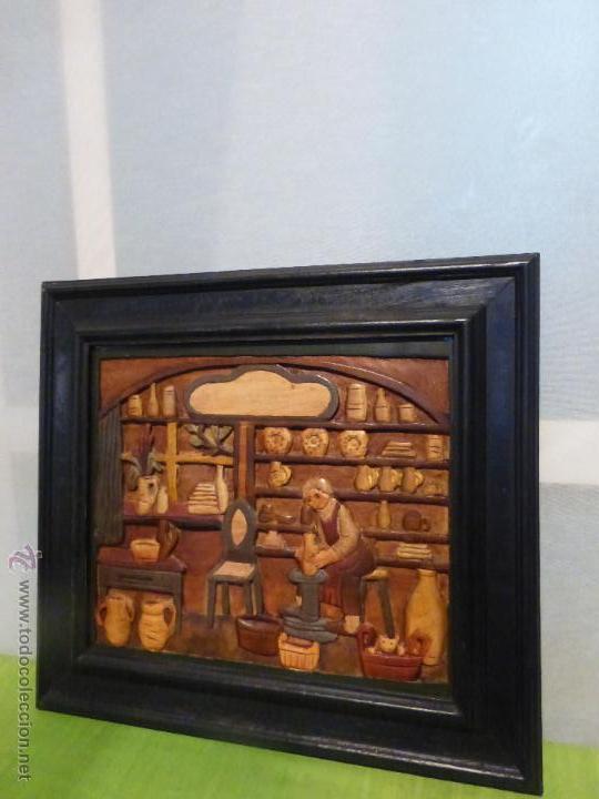 Arte: FABULOSO CUADRO TALLADO EN RELIEVE SOBRE TABLA DE MADERA Y POLICROMADO - DIBUJO ESTILO CAUCÁSICO - Foto 10 - 49377918