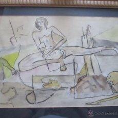 Arte: AªPINTURA CON CRISTAL+MARCO+PASPARTÚS-MIGUEL SERRANO-CROMA-(CORUÑA)-75X56,5.56X38 CMS-VER FOTOS.. Lote 49471041