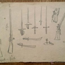 Arte: INTERESANTE OBRA ORIGINAL A LAPIZ, MOSQUETES, SABLES DE DIFERENTES ÉPOCAS, SIGLO XIX. Lote 49484471