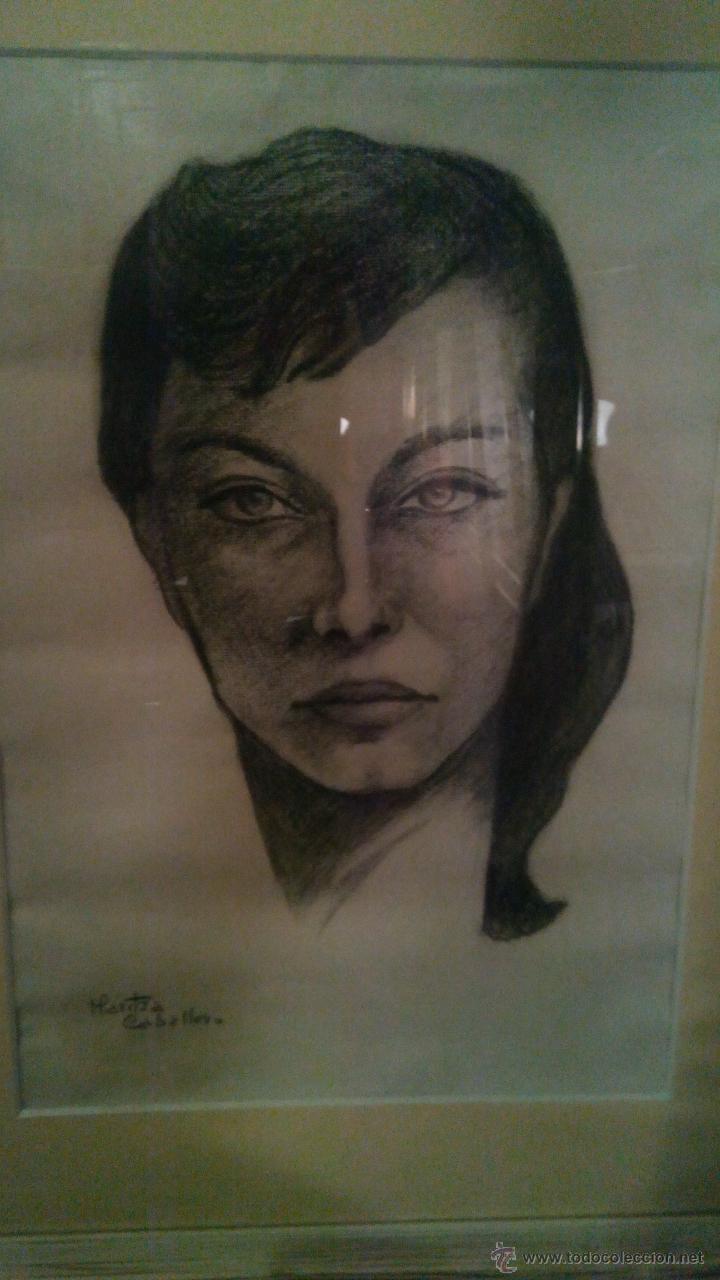 RETRATO AL CARBONCILLO FIRMADO POR LA ACTRIZ MARITZA CABALLERO (Arte - Dibujos - Contemporáneos siglo XX)