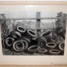 Arte: DESCARGA DE NEUMATICOS - DIBUJO AL CARBÓN - SIMBOLISMO/REALISMO. Lote 49556208