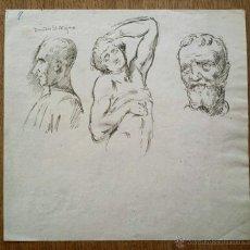 Arte: MARAVILLOSOS RETRATOS ORIGINALES A PLUMILLA, FIRMADO, GRAN CALIDAD, RETRATOS EN LAS DOS CARAS. Lote 49558959