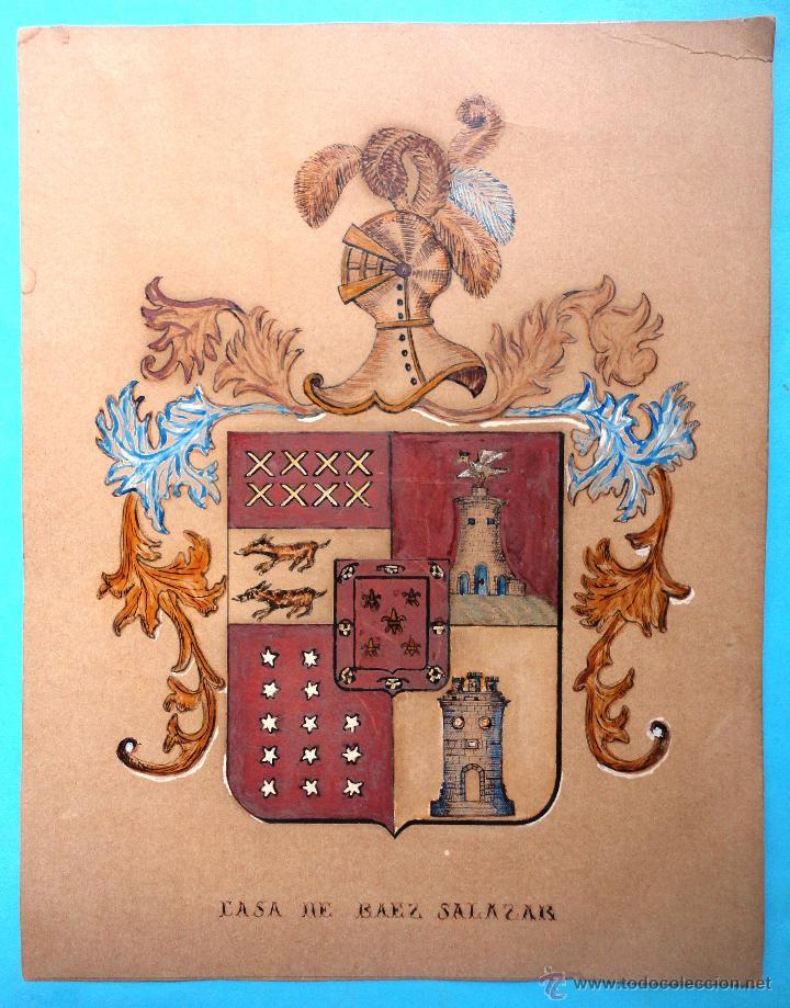 DIBUJO A MANO. HERÁLDICA CASA DE BAEZ SALAZAR. TENERIFE. AÑO 1886. SELLO CURBELO (Arte - Dibujos - Modernos siglo XIX)