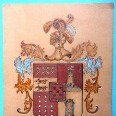 Arte: DIBUJO A MANO. HERÁLDICA CASA DE BAEZ SALAZAR. TENERIFE. AÑO 1886. SELLO CURBELO. Lote 49634896