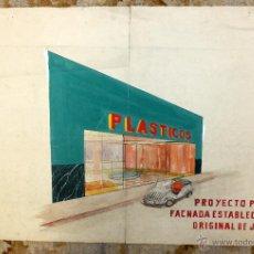 Arte: PROYECTO ORIGINAL PARA UN ESTABLECIMIENTO DE PLASTICOS CON DIBUJO DE UN BISCUTER. AÑOS 50. Lote 49663536