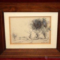 Arte: JOSEP OLIVET LEGARES (OLOT, GIRONA, 1887 - BARCELONA, 1956) DIBUJO A LÁPIZ GRASO. PAISAJE OLOTINO. Lote 49752951
