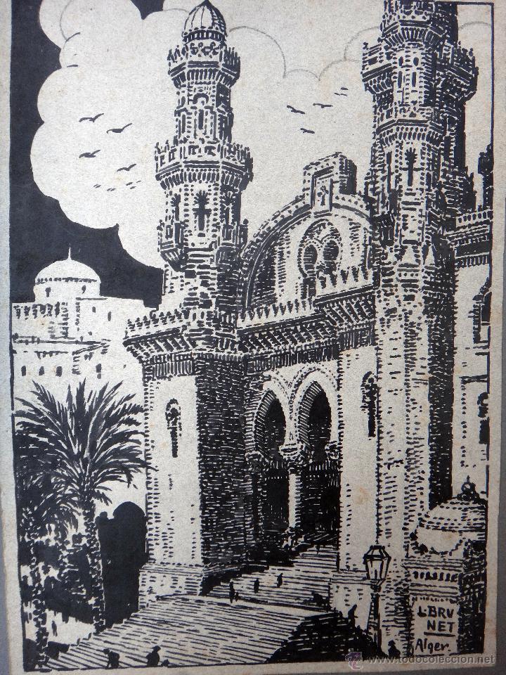 DIBUJO DE ALGEL, ARGELIA CATEDRAL DE ARGEL , GRANDE , DE L. BRUNET ,ORIGINAL, G (Arte - Dibujos - Modernos siglo XIX)