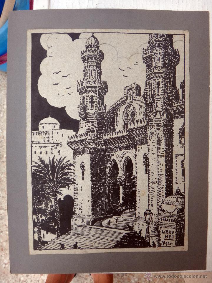 Arte: DIBUJO DE ALGEL, ARGELIA CATEDRAL DE ARGEL , GRANDE , DE L. BRUNET ,ORIGINAL, G - Foto 2 - 50395726