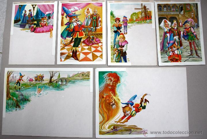 LOTE DE 6 DIBUJOS ORIGINALES EN GOUACHE. REALIZADOS PARA ILUSTRAR EL CUENTO EL GATO CON BOTAS (Arte - Dibujos - Contemporáneos siglo XX)