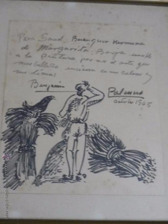 DIBUJO CON DEDICATORIA, POR BENJAMÍN PALENCIA (Arte - Dibujos - Contemporáneos siglo XX)