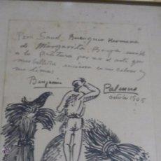 Arte: DIBUJO CON DEDICATORIA, POR BENJAMÍN PALENCIA. Lote 50564060