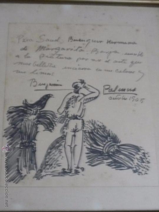 Arte: Dibujo con dedicatoria, por Benjamín Palencia - Foto 2 - 50564060