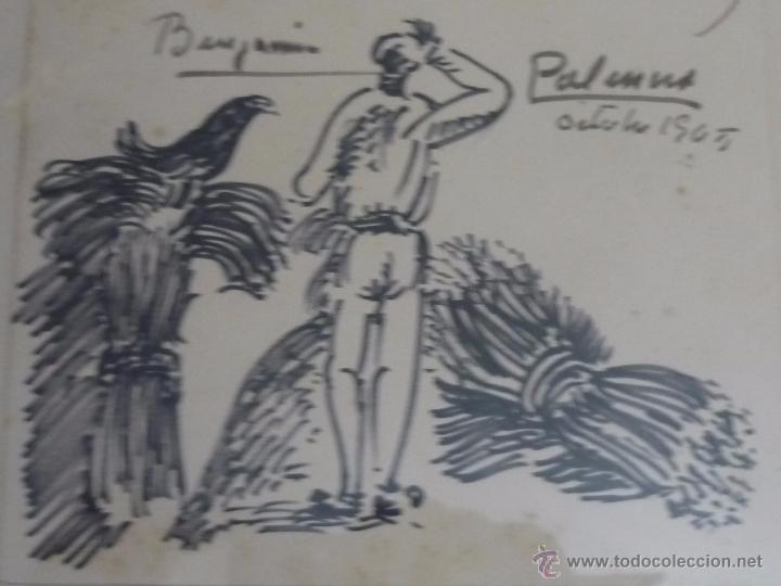 Arte: Dibujo con dedicatoria, por Benjamín Palencia - Foto 3 - 50564060