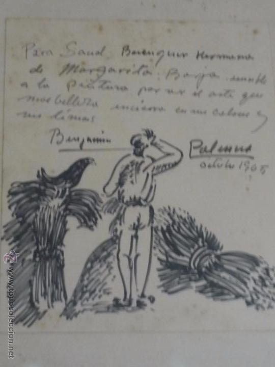Arte: Dibujo con dedicatoria, por Benjamín Palencia - Foto 6 - 50564060