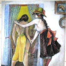 Arte: DIBUJO A LA CERA. EL INDIO CONOCE EL PROSTIBULO. ENVIO CERTIFICADO INCLUIDO.. Lote 50581995