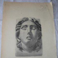 Arte: MAGNIFICO GRAN DIBUJO ANTIGUO EN CARBON,ESCUELA CATALANA 1904. Lote 50617322