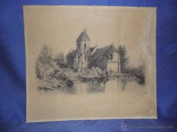 Arte: ANTIGUO DIBUJO FIRMADO Y FECHADO H. RIVERE 1902. IGLESIA AL LADO DE RIO, MEDIDAS 38X43 CM. - Foto 2 - 50629350