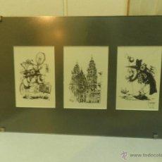 Arte: CUADRO CON TRES DIBUJOS DEL CAMINO DE SANTIAGO, SIMPATICOS , NO ORIGINALES , SIN CRISTAL. Lote 50640782