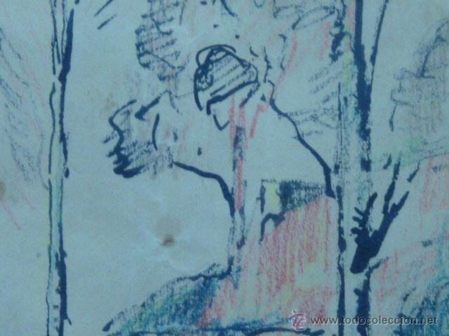 Arte: dibujo de Ramón Cortés.(dedicado al gran dibuixant i gran amic Opisso afectuosament). - Foto 3 - 50654405