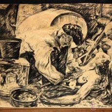 Arte: SIGUIENDO LOS MODELOS DE JOAQUIN SOROLLA. DIBUJO A CARBÓN (AUN DICEN QUE EL PESCADO ES CARO). Lote 50739084