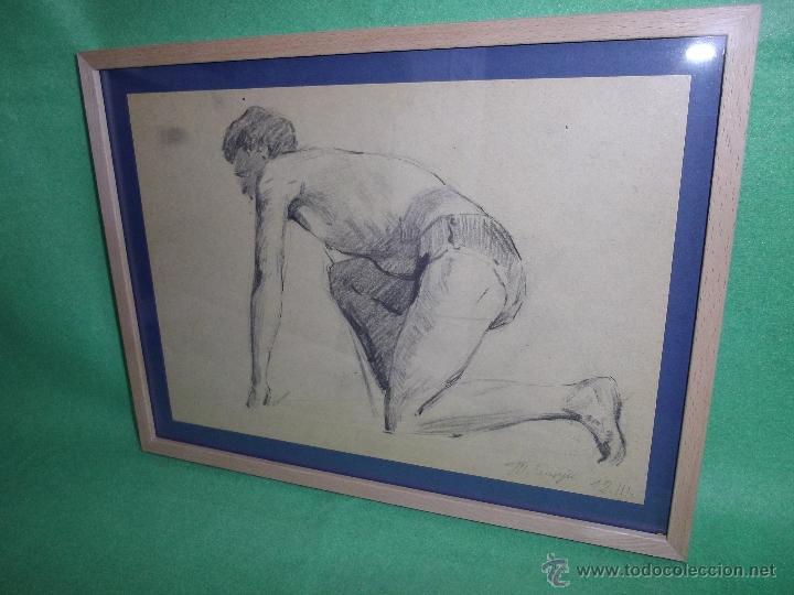 RARO EXCELENTE DIBUJO ALEMAN BAUHAUS ELEGANTE CORREDOR LAPIZ ART DECO MODERNISTA 1911 (Arte - Dibujos - Contemporáneos siglo XX)