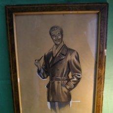 Arte: EXCELENTE DIBUJO EMILIO FREIXAS ?? ELEGANTE CABALLERO SEÑOR FUMADOR PIPA AÑOS 40 BARBOUR CUERO. Lote 50749992