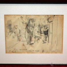 Arte: JULIÁN GRAU SANTOS (CANFRANC, HUESCA, 1937) DIBUJO A CARBÓN TITULADO BODEGA BOHEMIA. Lote 50938087