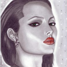 Arte: DIBUJO HIPERREALISTA (RETRATO). * ANGELINA JOLIE/ACTRIZ * (TÉCNICA MIXTA). DE D. NAVASCUÉS.. Lote 50942927