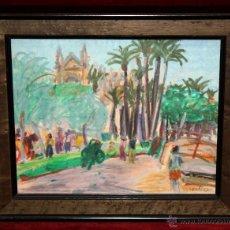 Arte: ILEGIBLE DE LOS AÑOS 60. DIBUJO A CERAS. VISTA DE LA CATEDRAL DE PALMA DE MALLORCA DESDE EL PUERTO. Lote 50943090