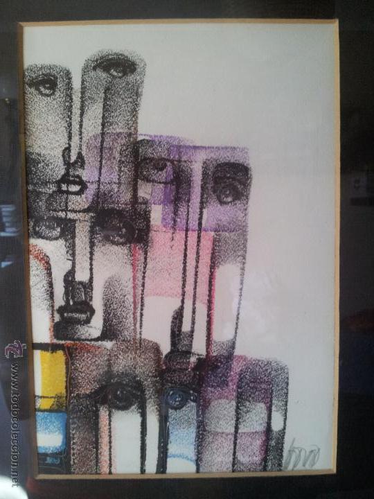 DIBUJO ORIGINAL TECNICA MIXTA CERA- PASTEL...FIRMADA POR AUTOR .....ILEGIBLE (Arte - Dibujos - Contemporáneos siglo XX)