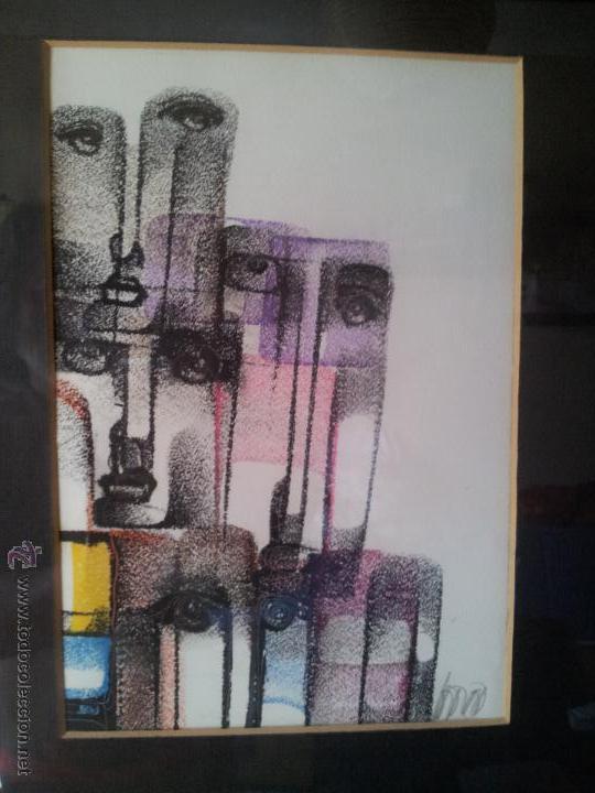 Arte: dibujo original tecnica mixta cera- pastel...firmada por autor .....ilegible - Foto 2 - 51000210