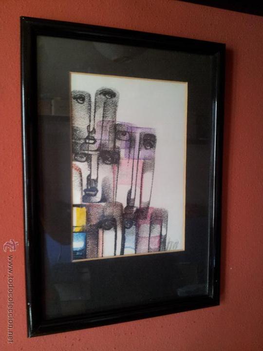 Arte: dibujo original tecnica mixta cera- pastel...firmada por autor .....ilegible - Foto 3 - 51000210