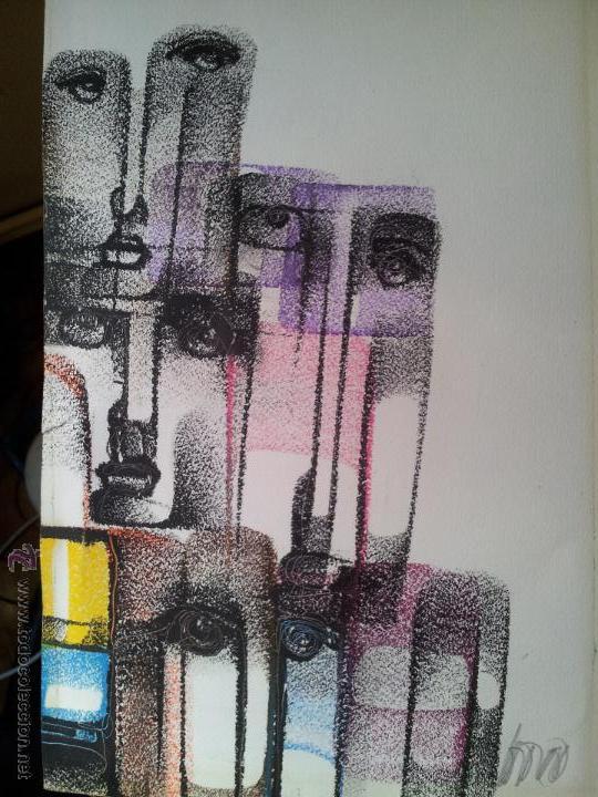 Arte: dibujo original tecnica mixta cera- pastel...firmada por autor .....ilegible - Foto 4 - 51000210