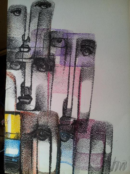 Arte: dibujo original tecnica mixta cera- pastel...firmada por autor .....ilegible - Foto 6 - 51000210