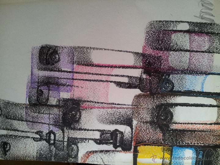 Arte: dibujo original tecnica mixta cera- pastel...firmada por autor .....ilegible - Foto 7 - 51000210