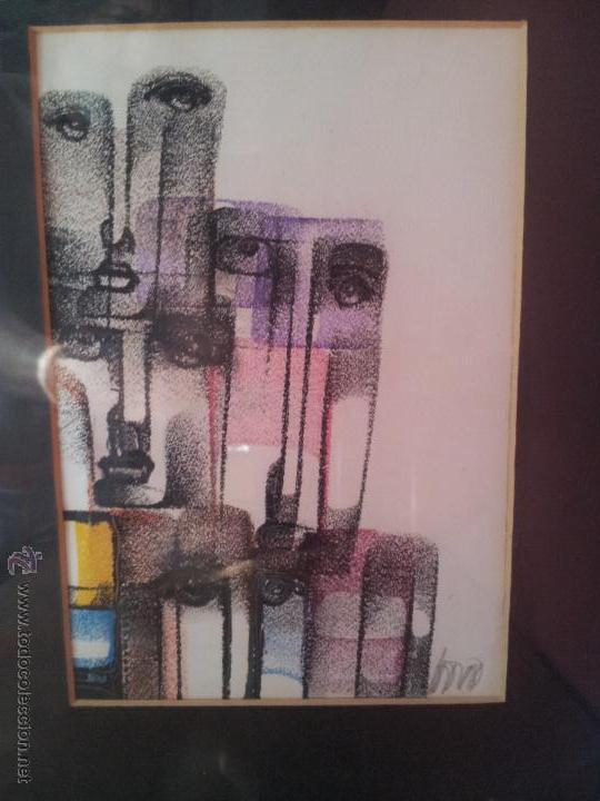 Arte: dibujo original tecnica mixta cera- pastel...firmada por autor .....ilegible - Foto 11 - 51000210