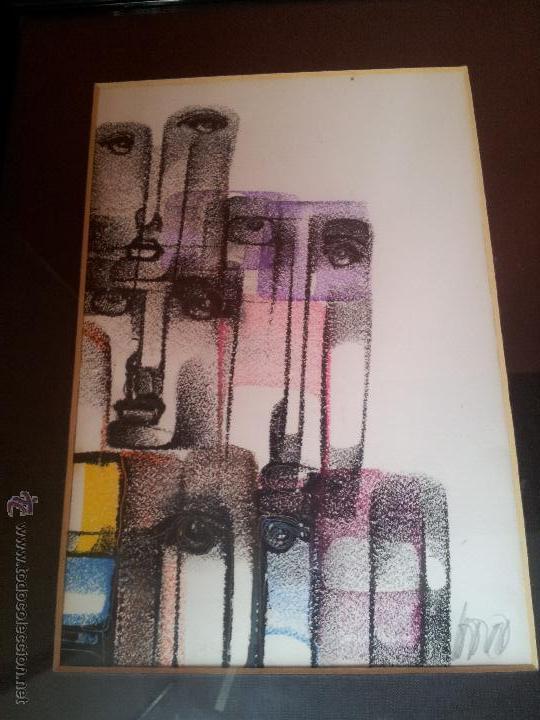 Arte: dibujo original tecnica mixta cera- pastel...firmada por autor .....ilegible - Foto 12 - 51000210