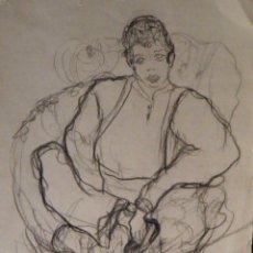 Arte: DIBUJO CARBON,MARIA DOLORES CASANOVA,1976, 175X250 MM. . Lote 51077938
