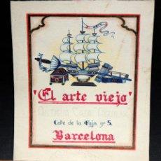 Arte: PROYECTO PARA PUBLICIDAD DE LOS AÑOS 40 (EL ARTE VIEJO) ANTIGUA CASA AGUILAR. TECNICA MIXTA EN PAPEL. Lote 51330778
