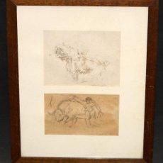 Arte: SEGUNDO MATILLA MARINA (MADRID, 1862 - TEIÀ, 1937) PAREJA DE DIBUJOS DEL AÑO 1936. PASES TAURINOS. Lote 51353101