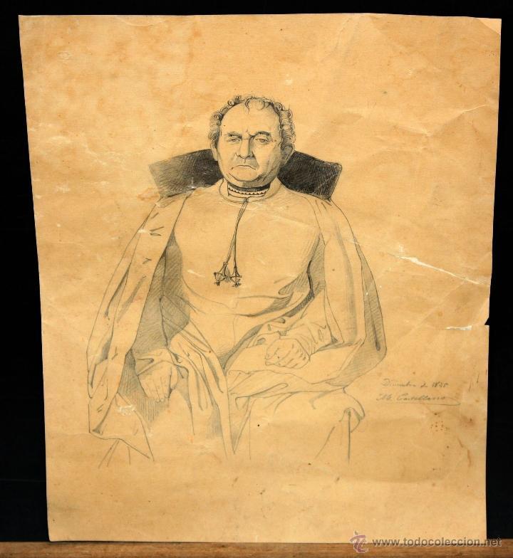 MANUEL CASTELLANO (MADRID, 1826 - 1880) DIBUJO A CARBON. RETRATO DE UN ECLESIASTICO (Arte - Dibujos - Modernos siglo XIX)