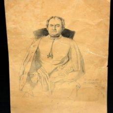 Arte: MANUEL CASTELLANO (MADRID, 1826 - 1880) DIBUJO A CARBON. RETRATO DE UN ECLESIASTICO. Lote 51374145