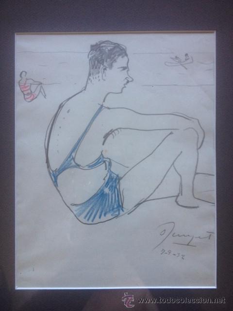Arte: PINTURA CATALANA, BAÑISTA, DIBUJO SOBRE CARTULINA FIRMA OLEGUER JUNYENT, 1923, 18X24CM SIN ENMARCAR - Foto 3 - 51391333