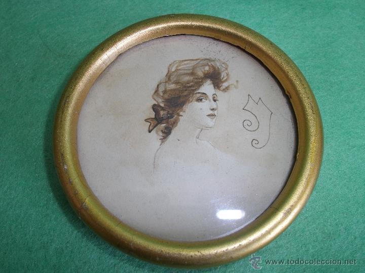 BELLO RETRATO MUJER MINIATURA BELLA DAMA DIBUJO TINTA GIBSON GIRL FIRMADA ORIGINAL XIX (Arte - Dibujos - Modernos siglo XIX)